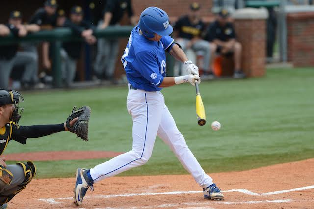Evan White.  The University of Kentucky baseball team defeats Missouri 2-1 Friday, May 20, 2016, at Cliff Hagen Stadium in Lexington, Ky.  Photo by Elliott Hess   UK Athletics